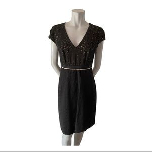 Lida Baday Black V Neck Eyelet Dress Size 10